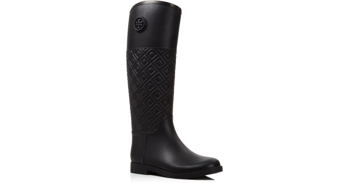 34efe39a216465 Lyst - Tory Burch Marion Quilted Rainboot in Black