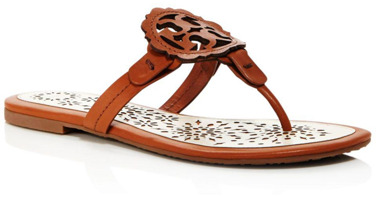 7a2887139 Tory Burch Women's Miller Scallop Leather Thong Sandals in Brown - Save 6%  - Lyst