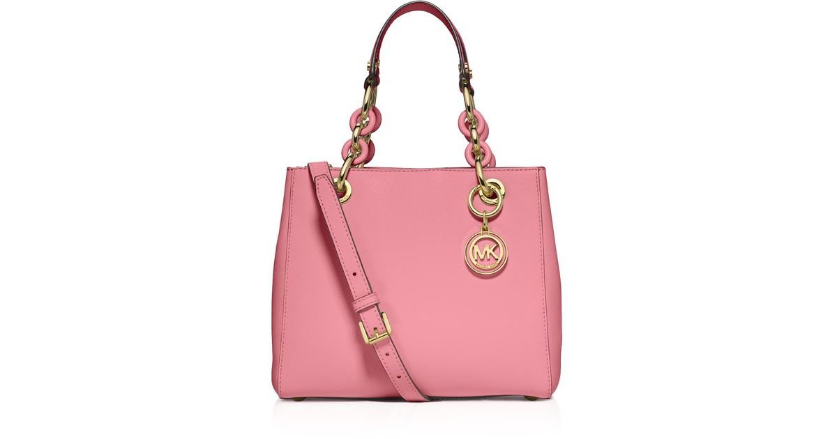 ... leather shoulder bag handbag rrp 207 2534f 093b3 inexpensive michael  michael kors small cynthia saffiano satchel in pink lyst 82260 230a9 ... 524eae7be2e14