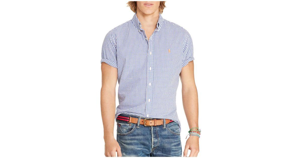 Polo ralph lauren seersucker gingham regular fit button for Blue gingham button down shirt