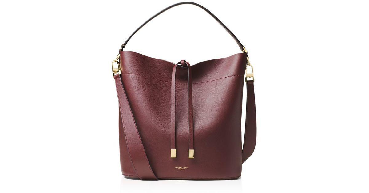 ac6f59fbff0d Lyst - Michael Kors Miranda Large Leather Shoulder Bag in Purple