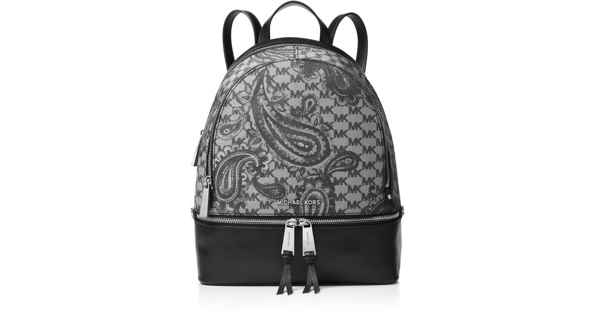 2d8d5016ae9c MICHAEL Michael Kors Studio Rhea Medium Zip Paisley Backpack in Black - Lyst