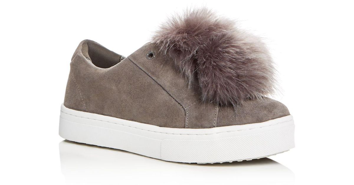 ff401fdbb476 Lyst - Sam Edelman Leya Faux Fur Pom-pom Slip-on Sneakers in Gray