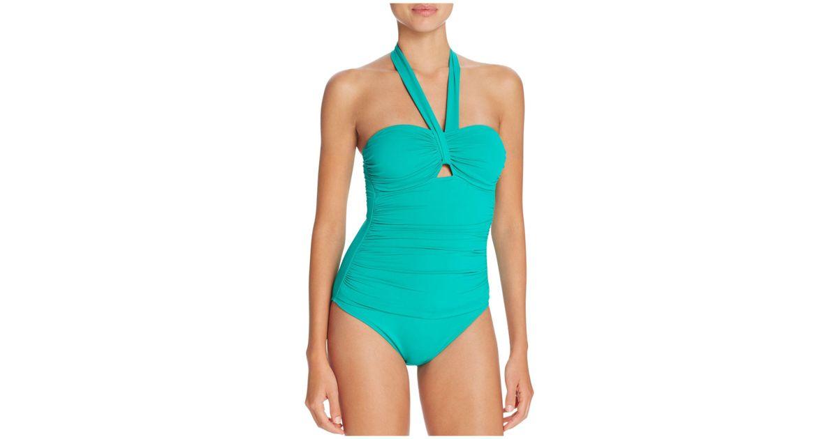 fc3961a4 Ralph Lauren - Green Lauren Beach Halter One Piece Swimsuit - Lyst