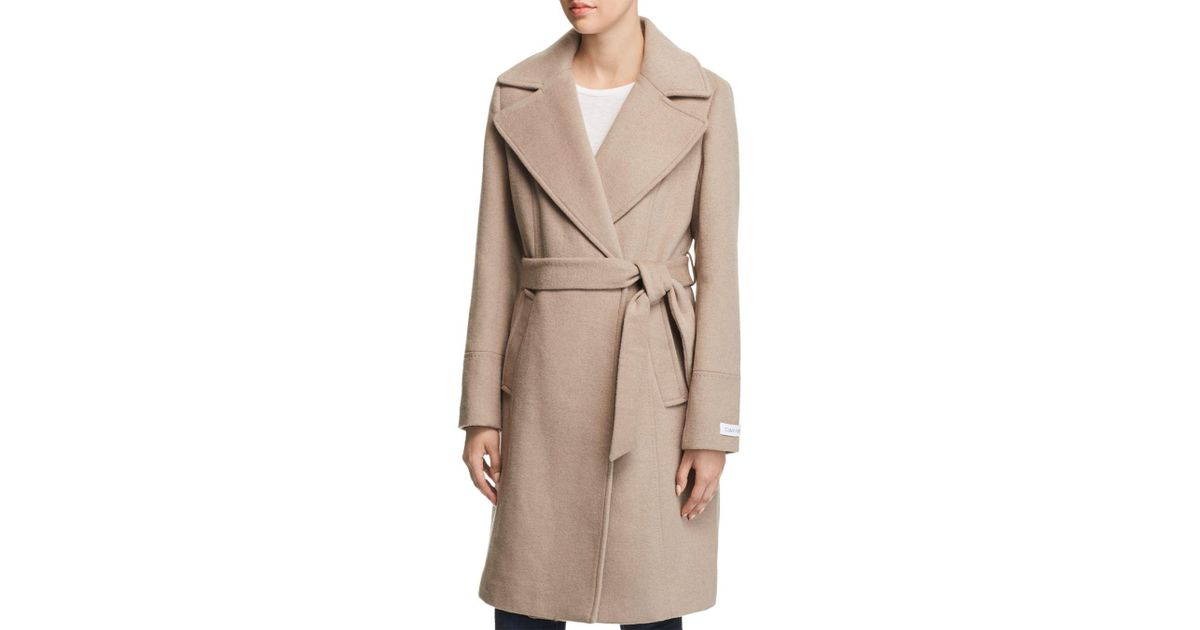 a51c5375fc9943 Lyst - Calvin Klein Notched Collar Wrap Coat in Natural