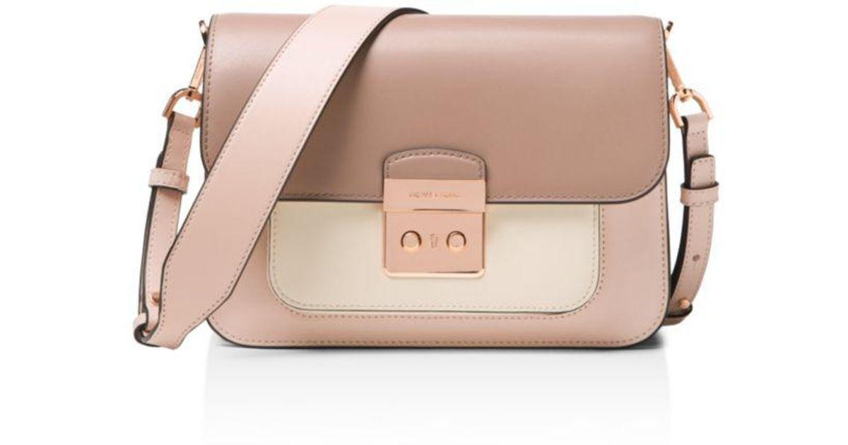 047a6bc46a45 Michael Michael Kors Sloan Editor Large Leather Shoulder Bag in Pink - Lyst