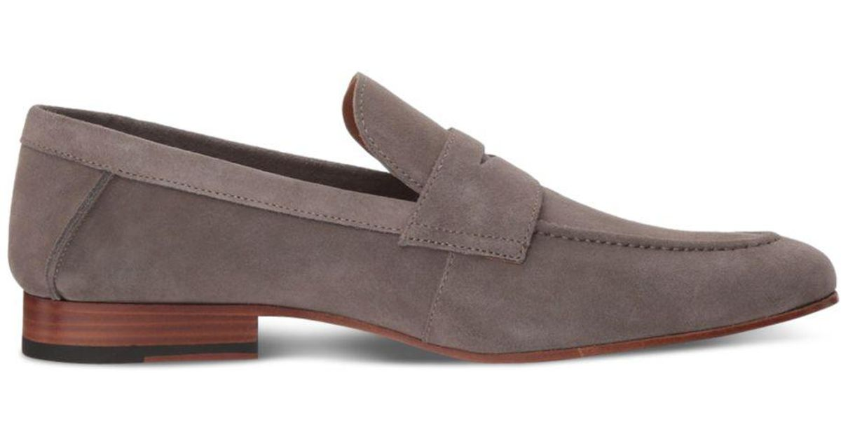 e3b19728442 Lyst - Gordon Rush Men s Wilfred Suede Apron Toe Penny Loafers in Gray for  Men