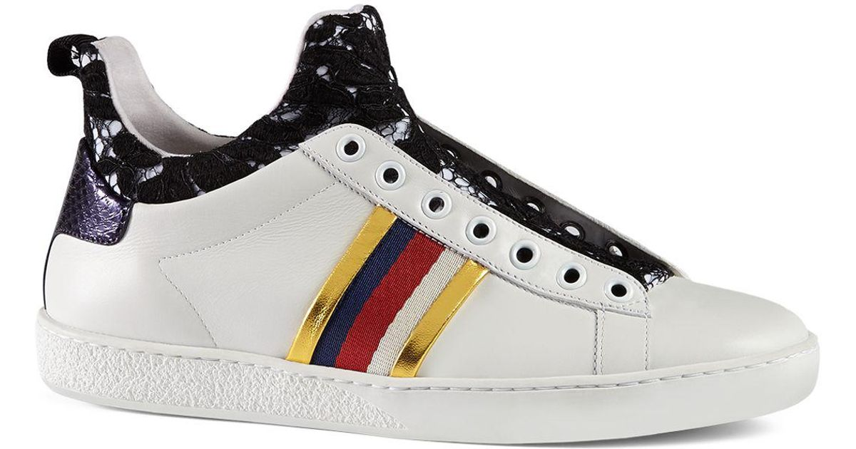 e383112a1c Gucci Black New Ace Lace And Leather High Top Sneakers