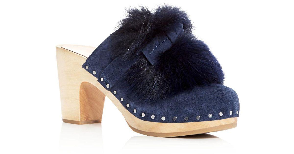 a322b5a6986c2 Loeffler Randall Blue Women's Phillips Suede & Fox Fur High Heel Clogs