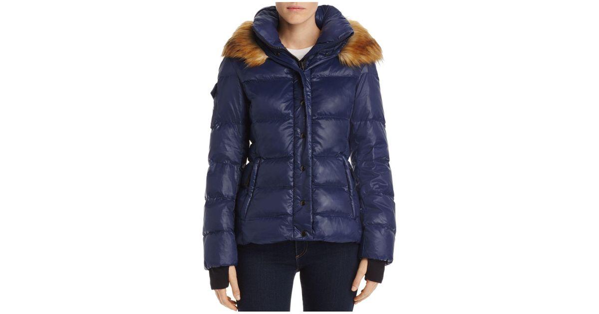 320bdf2cccdcb Aqua Faux Fur-trim Hooded Puffer Jacket in Blue - Lyst