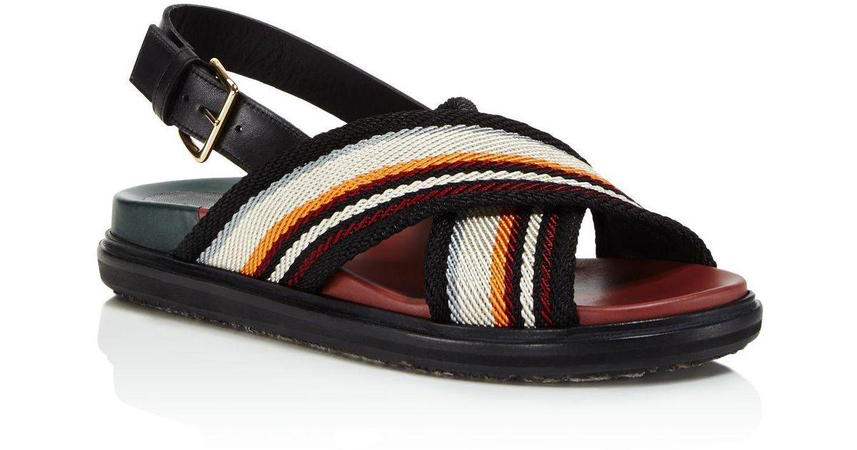 855fd7a72a4a Lyst - Marni Crisscross Stripe Sandals in Black