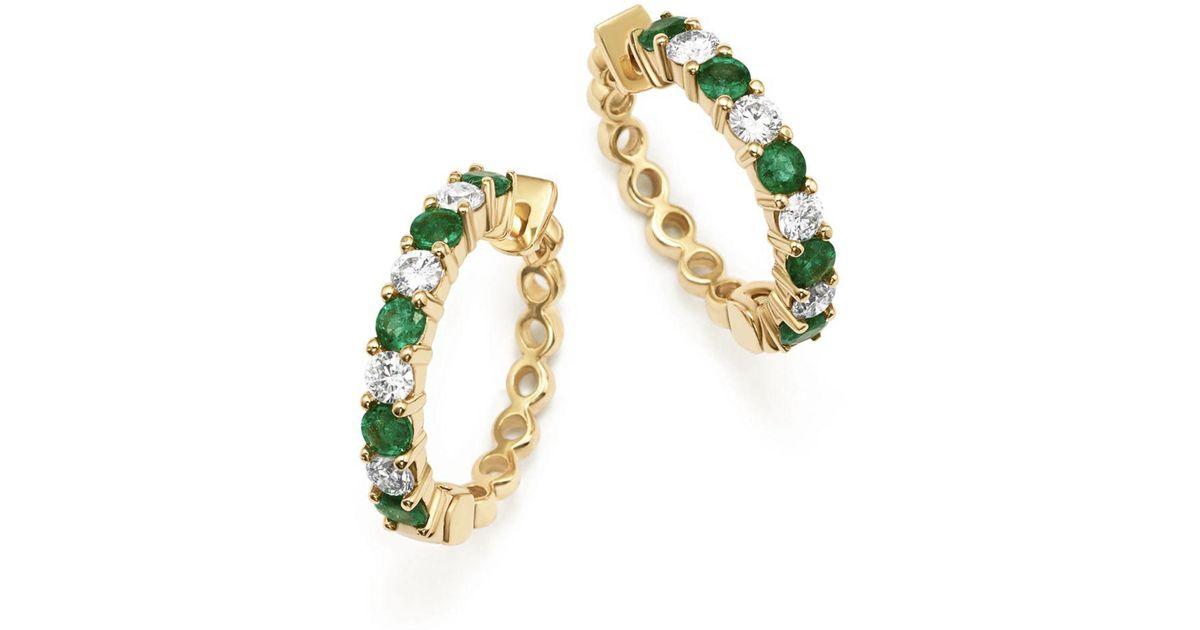 Lyst Bloomingdale S Emerald And Diamond Hoop Earrings In 14k Yellow Gold Metallic