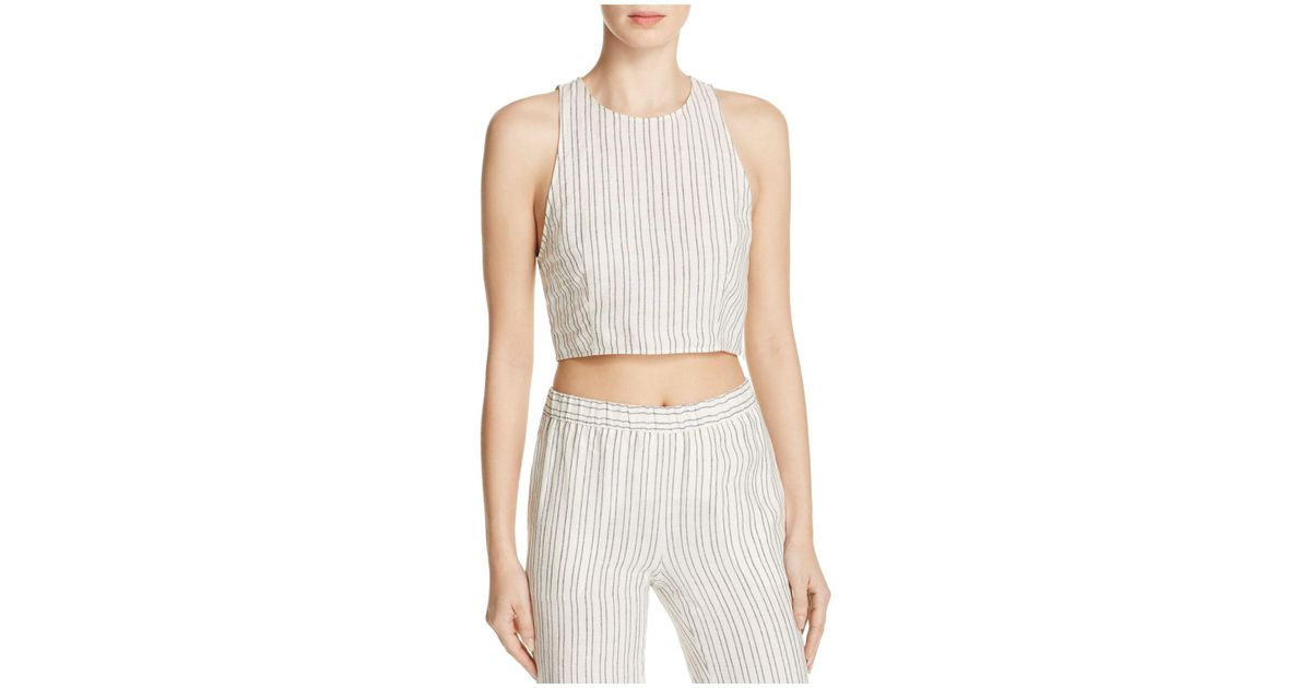 38d0adf451a Lyst - Theory Nikayla Striped Linen Crop Top in White