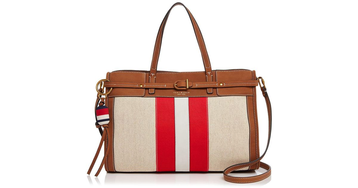 dc0f3d15052 Lyst - Tory Burch Canvas And Suede Satchel in Red