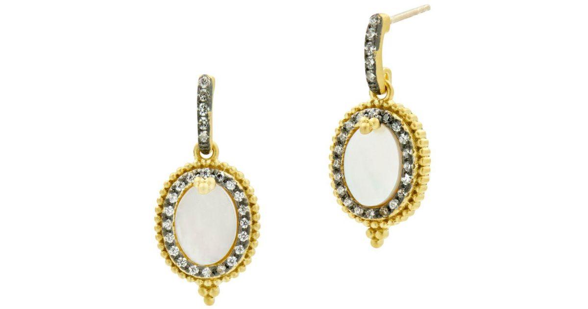 ORTAK Silver Cut Oval Drop Earrings