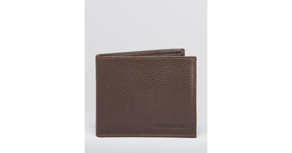 Longchamp Brown Le Foulonné Bifold Wallet With Coin Pouch for men