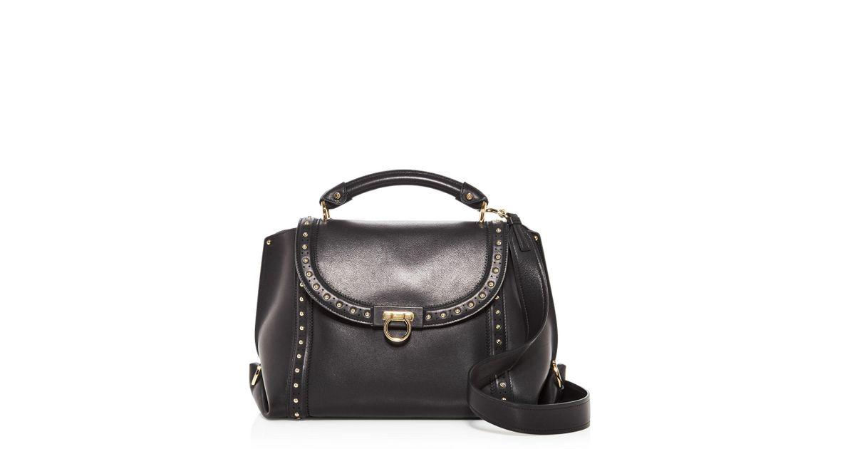 59bc1d4643 Lyst - Ferragamo Sofia Soft Studded Leather Satchel in Black