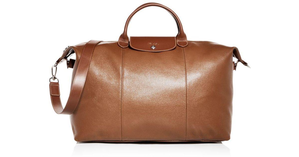 Longchamp Brown Le Foulonné Leather Duffel Bag for men