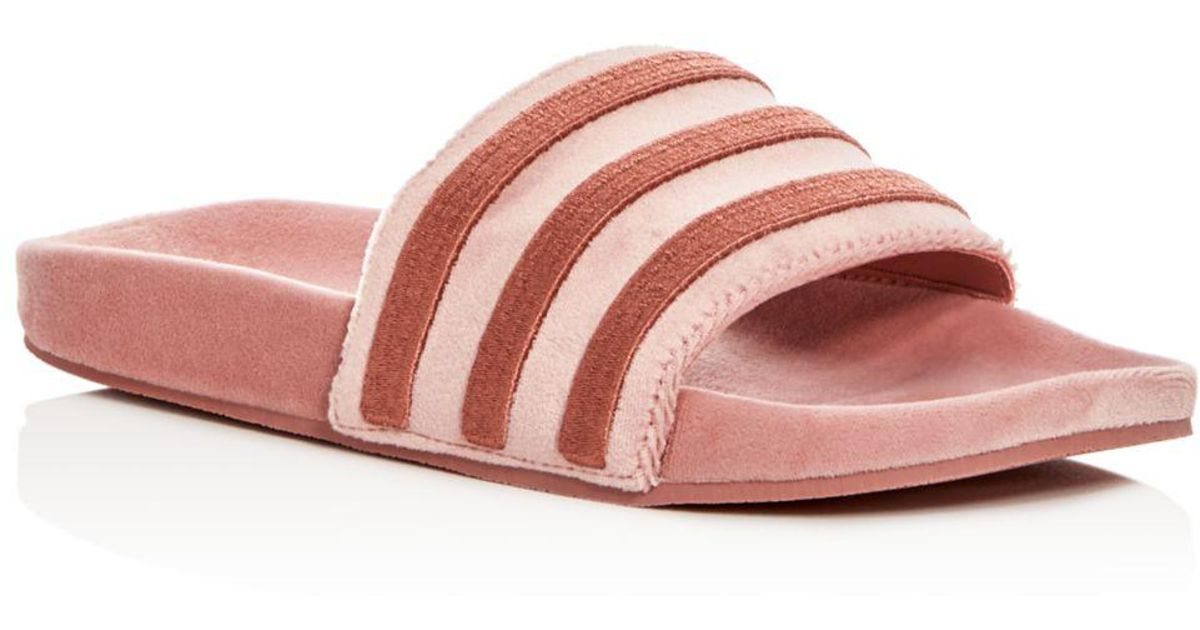 a24a9d036 adidas Women s Adilette Velvet Pool Slides in Pink - Lyst