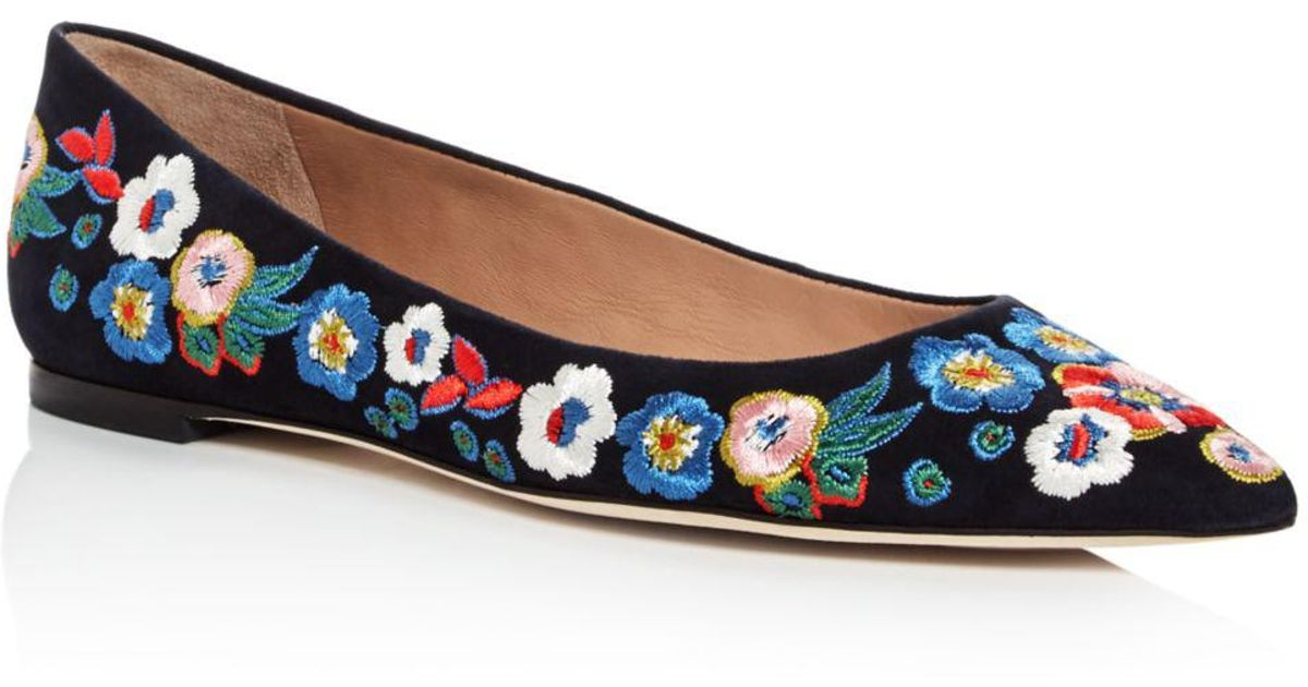 b385478e256b33 Lyst - Tory Burch Women s Rosemont Embroidered Suede Pointed Toe Flats in  Blue
