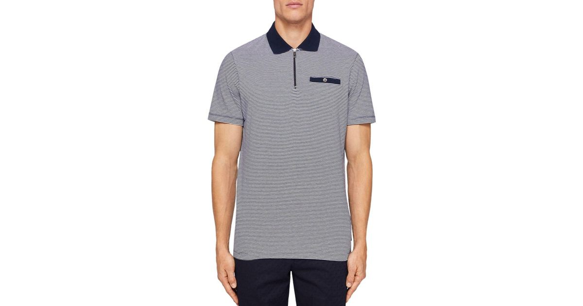 d231ec86a Lyst - Ted Baker Whippet Flat Knit Collar Regular Fit Polo in Blue for Men
