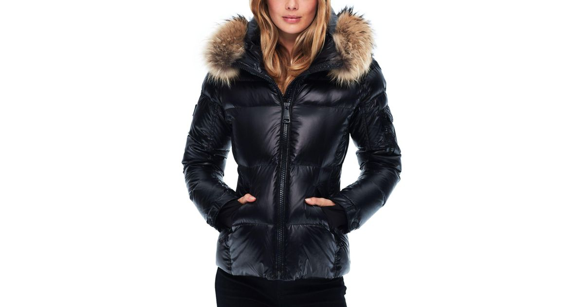 f7b7a05fe91e Lyst - Sam. Blake Fur-trim Down Coat in Black