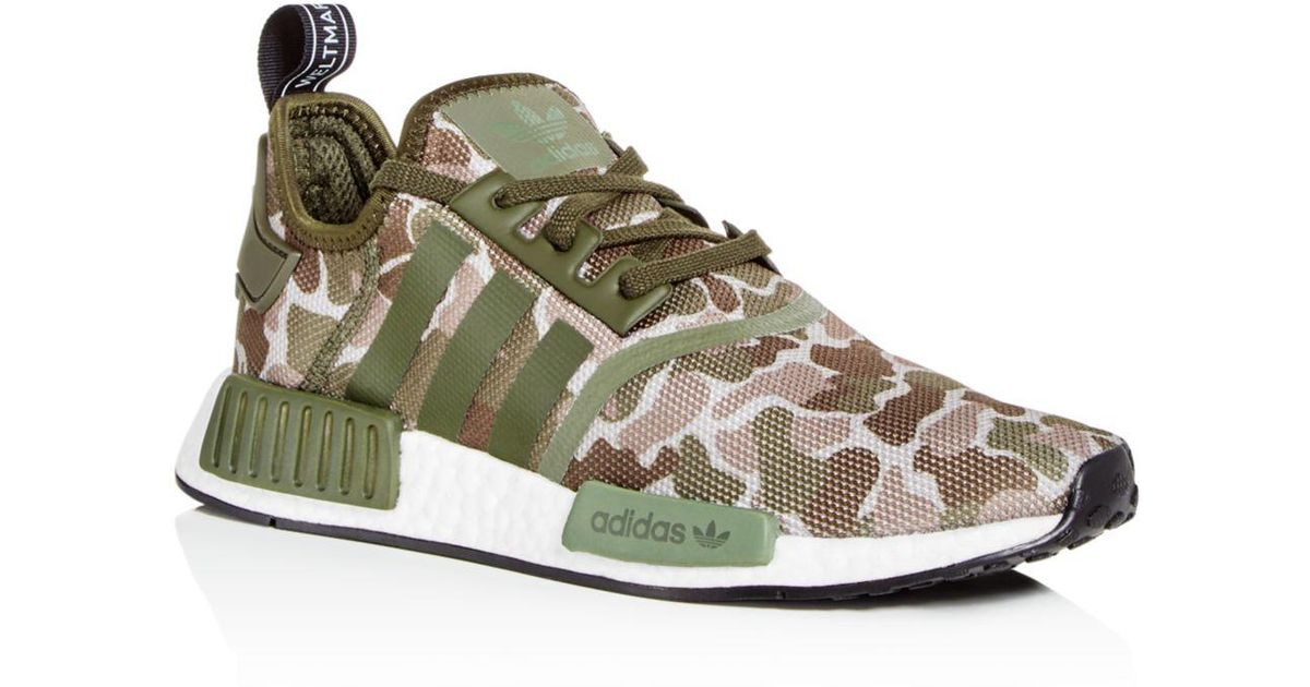 Adidas Green Men's Nmd R1 Camo Print Lace Up Sneakers for men