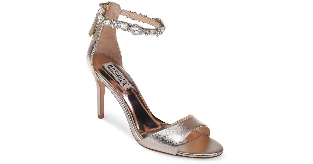 Badgley Mischka Women's Pauline Embellished Satin Crossover High-Heel Sandals D3oJADZQ
