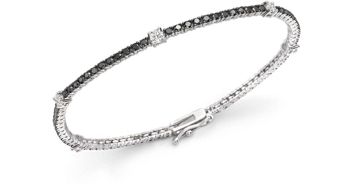 Bloomingdale S Black And White Diamond Tennis Bracelet In 14k Gold Lyst
