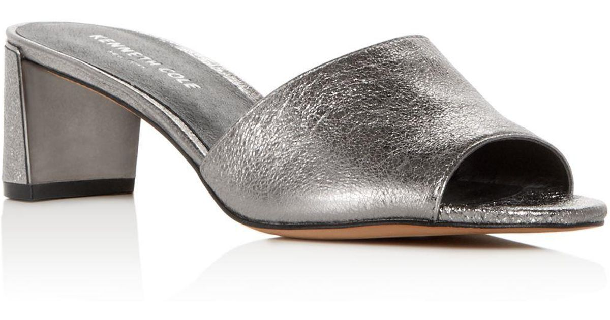 Kenneth Cole Women's Nash Leather Mid-Heel Slide Sandals