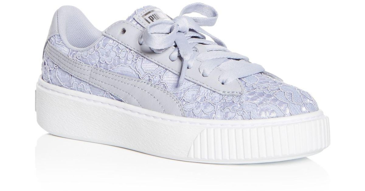 31a9424eed6 Lyst - PUMA Women s Basket Classic Floral Lace Lace Up Platform Sneakers in  Blue
