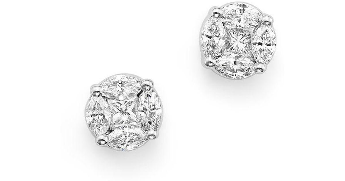 Roberto Coin Diamond Star Stud Earrings in 18K White Gold 6P6tmf