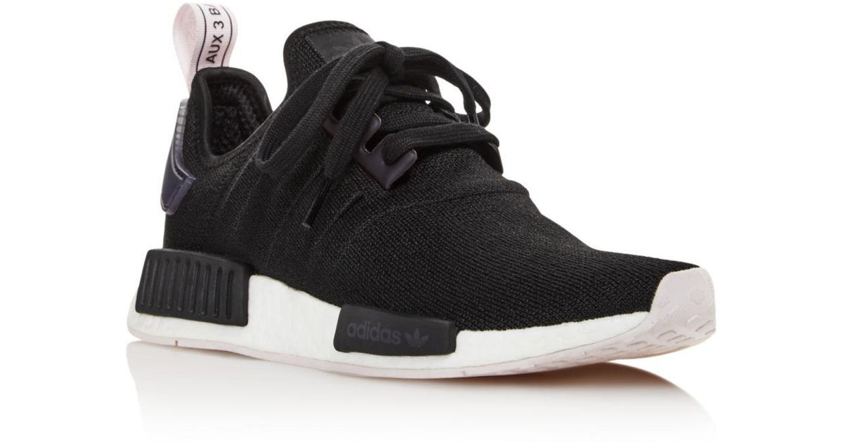 Black Women's Nmd R1 Knit Lace Up Sneakers