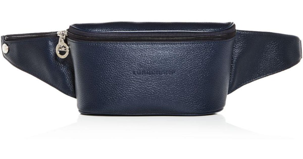 Longchamp Blue Le Foulonné Leather Belt Bag for men