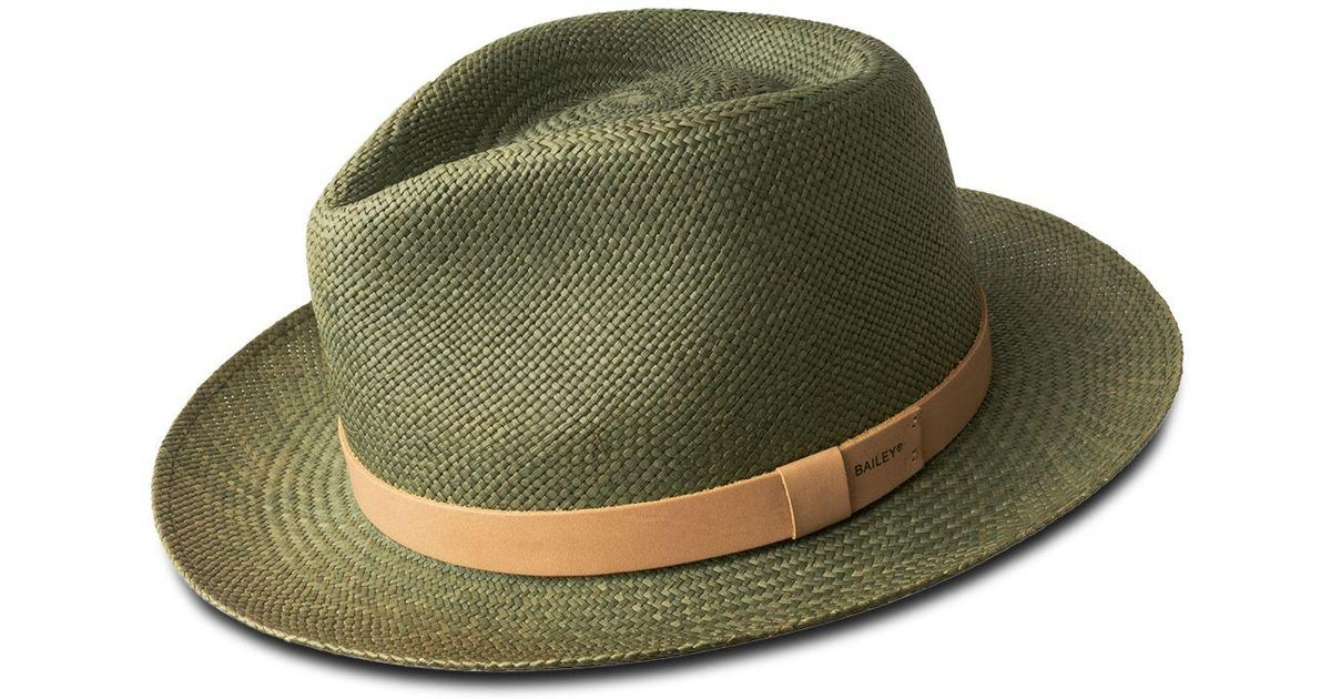 af9b9232c Bailey of Hollywood Green Gelhorn Straw Hat With Leather Band for men