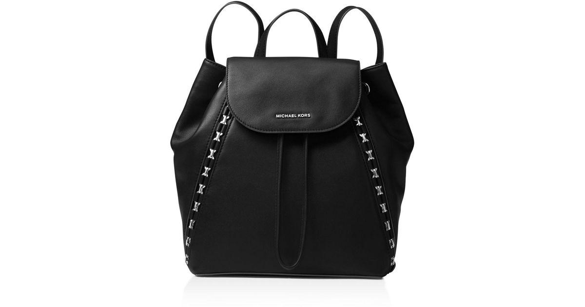 4bd7e7ef9d15 ... low price michael michael kors sadie medium leather backpack in black  lyst 35c4c 41793