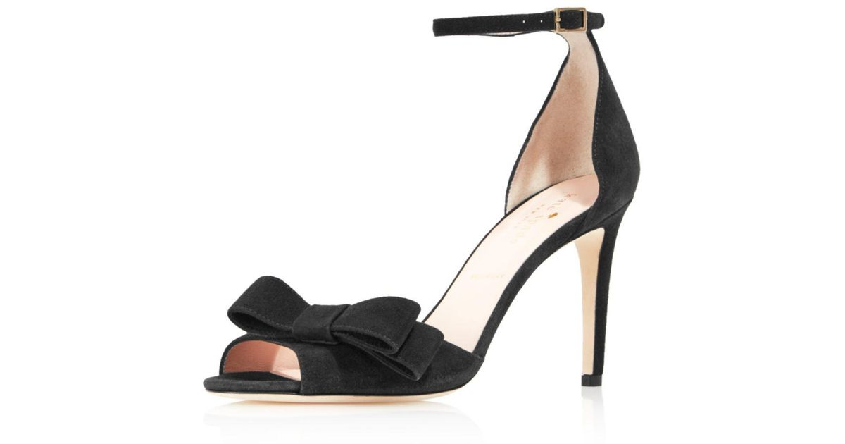 8274db68ae1f Kate Spade Women s Ismay Suede High-heel Bow Sandals in Black - Lyst