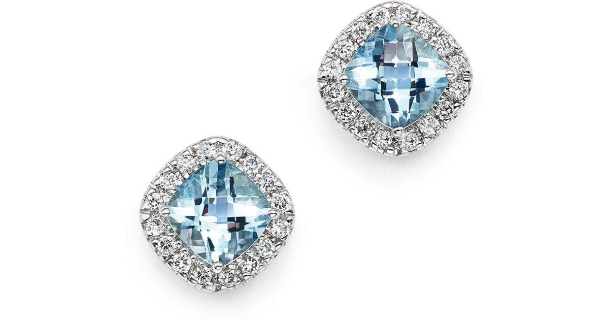 46df63c61 Bloomingdale's Aquamarine Cushion Cut And Diamond Stud Earrings In 14k  White Gold in White - Lyst