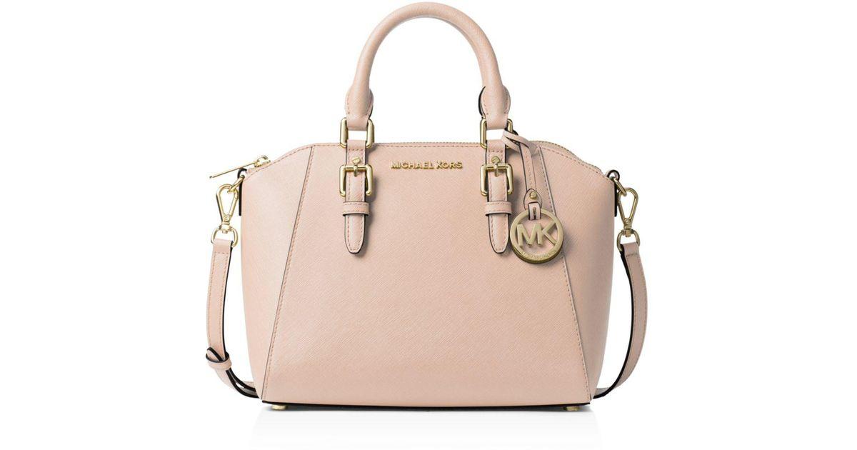 34906cf64cc638 MICHAEL Michael Kors Ciara Medium Leather Messenger Bag in Pink - Lyst