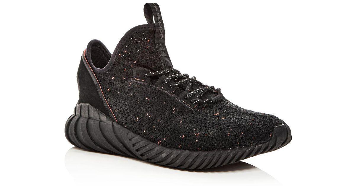 new style 7443f 642ad Adidas Black Men's Tubular Doom Sock Primeknit Lace Up Sneakers for men