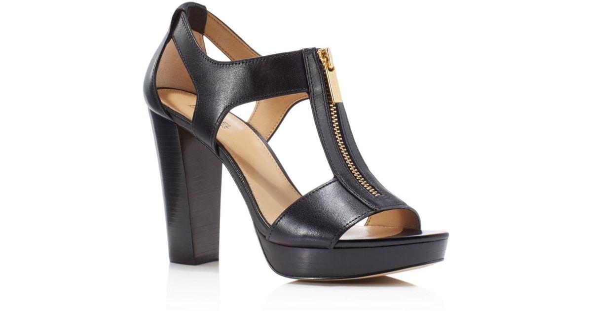 fafac26e0f1e Lyst - MICHAEL Michael Kors Berkley T-strap Platform Dress Sandals in Black  - Save 25%