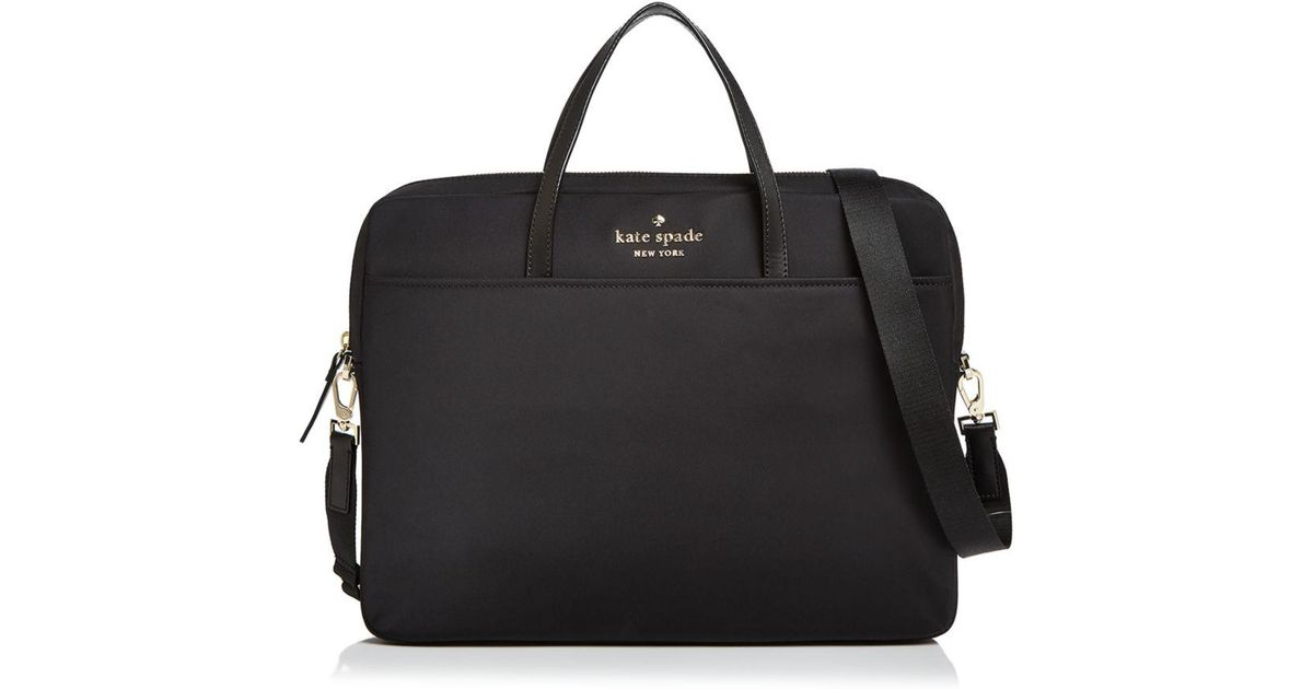 New Kate Spade quilted nylon universal laptop commuter bag Black Work School