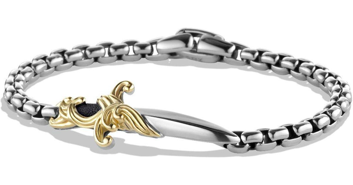 David Yurman Metallic Waves Dagger Bracelet With 18k Gold For Men