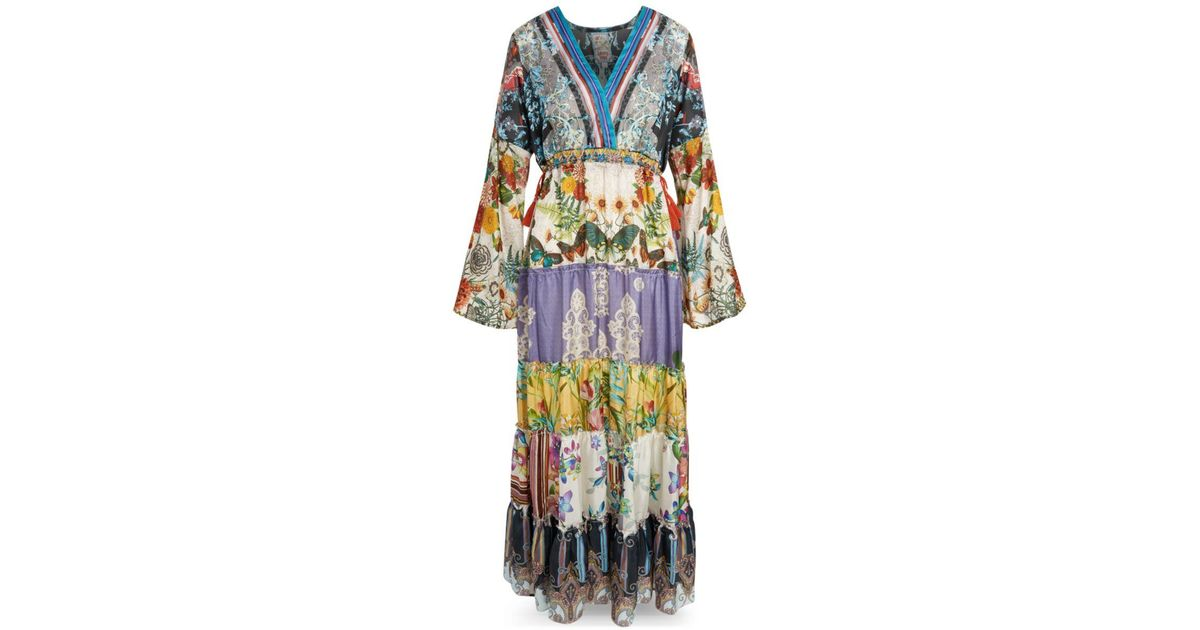 Johnny Was Dunas Printed Silk Maxi Dress in Blue - Lyst