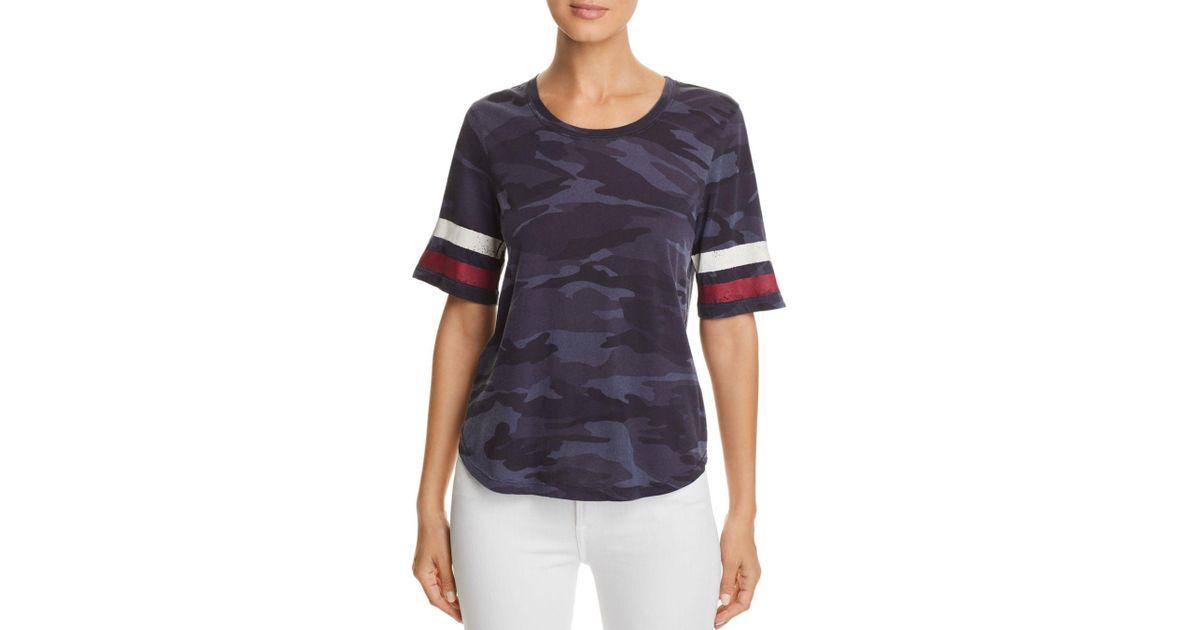 14759f18 Splendid Striped-sleeve Camo Tee in Blue - Lyst