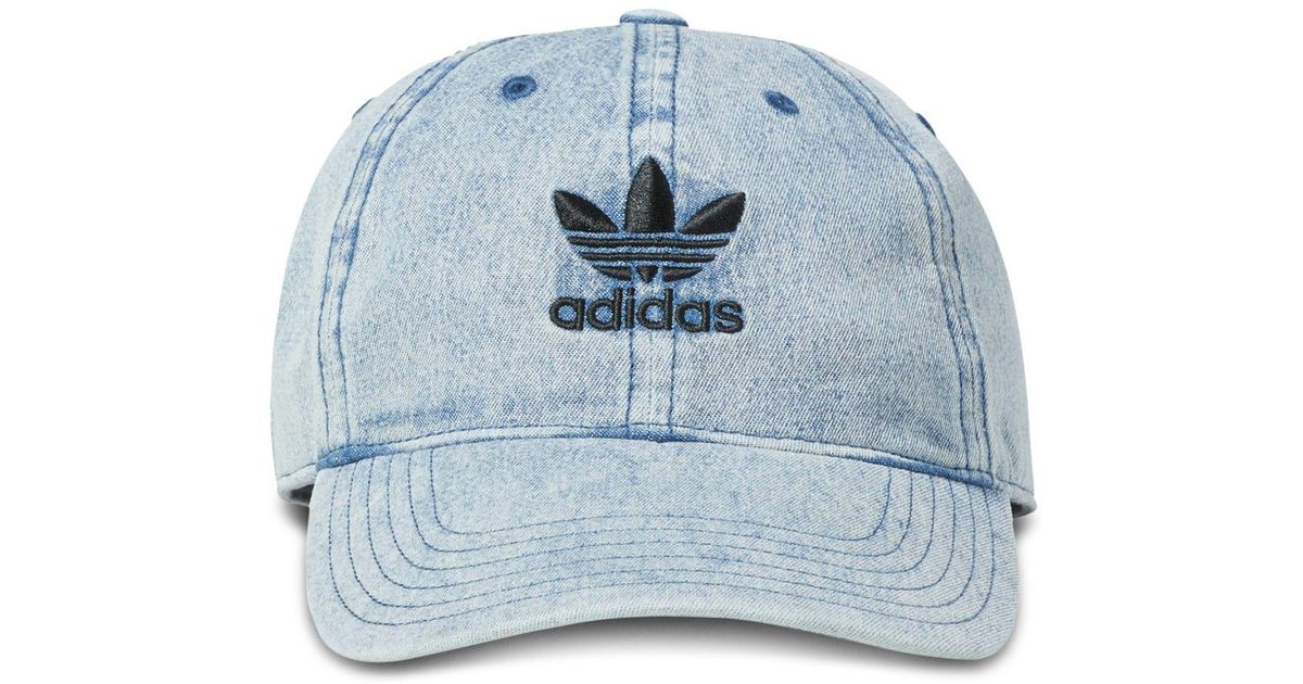 Lyst - adidas Originals Relaxed Light Denim Cap in Blue for Men 41a0ab22daf