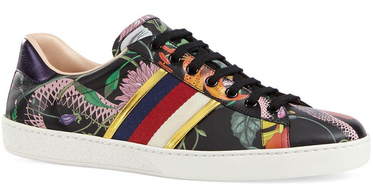 5863ecf9b Gucci Men's Flora Snake Sneakers in Black for Men - Lyst