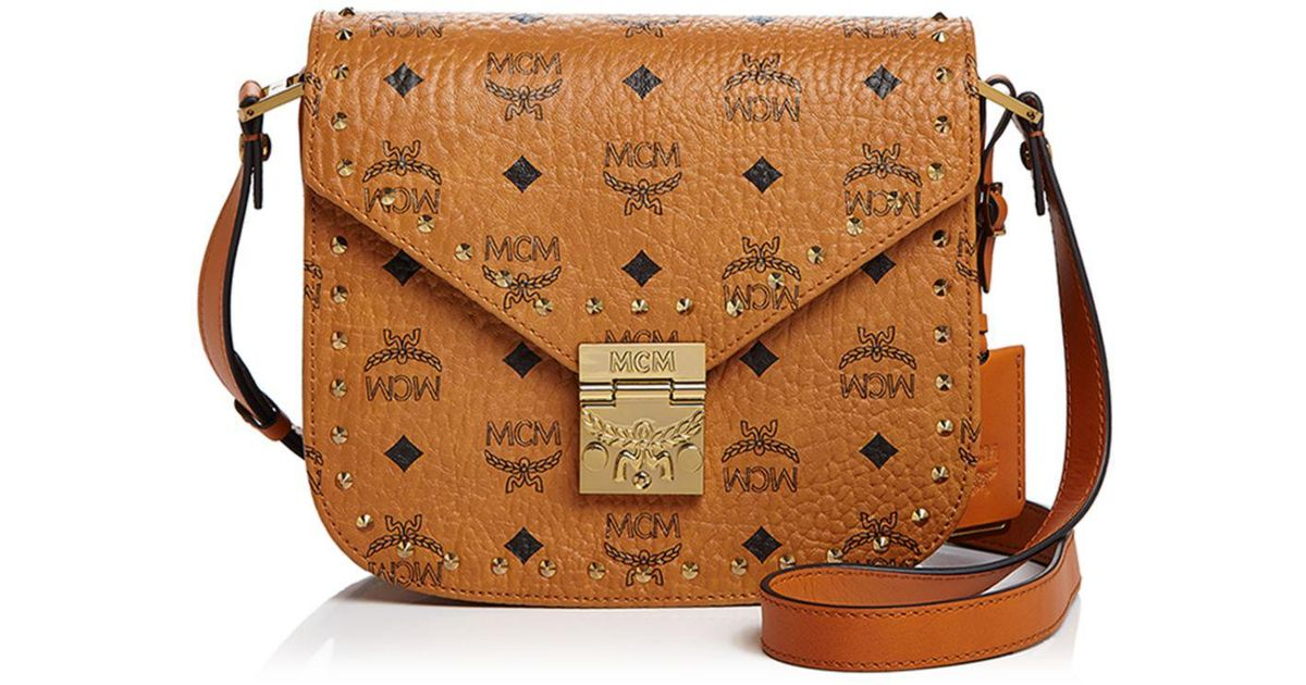 Mcm Brown Patricia Stud Trim Visetos Small Shoulder Bag