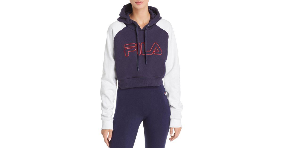 7f7eb7add76 Fila Valeria Cropped Hooded Sweatshirt in Blue - Lyst