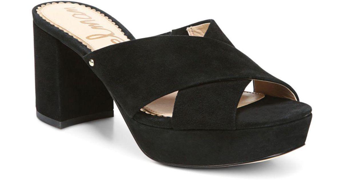 d0f6e26f5ef Lyst - Sam Edelman Women s Jayne Suede Platform High-heel Slide Sandals in  Black